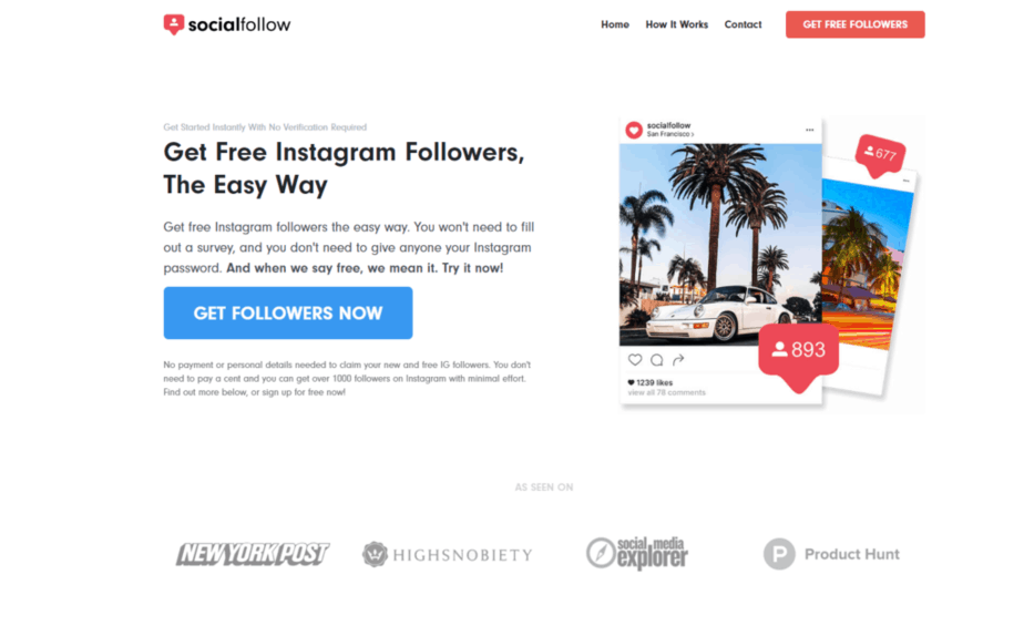 a screenshot of Socialfollow's homepage