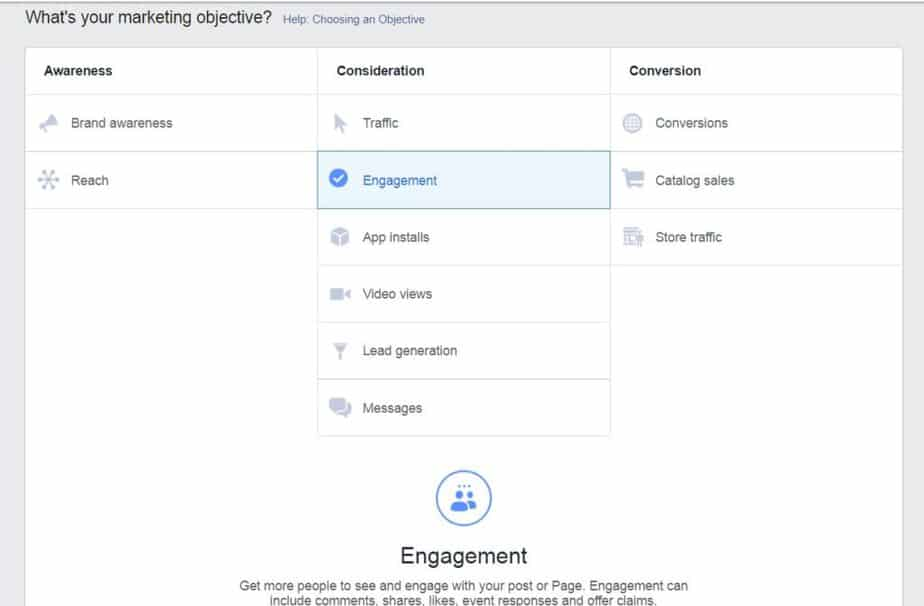 Facebook ads manager - objective