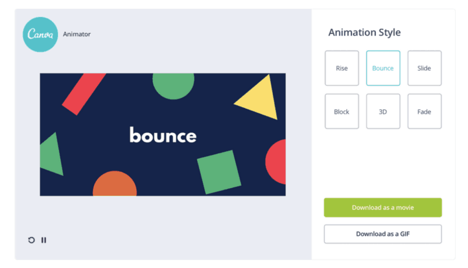 Canva Animator showing styles of Instagram videos