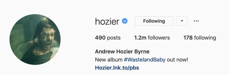 Hozier's verified account