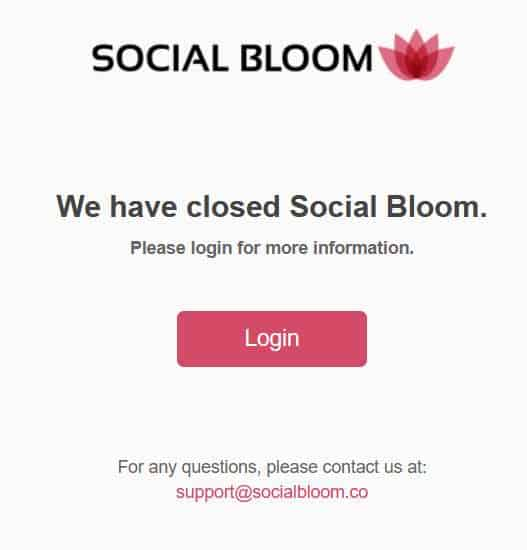Social bloom homepage