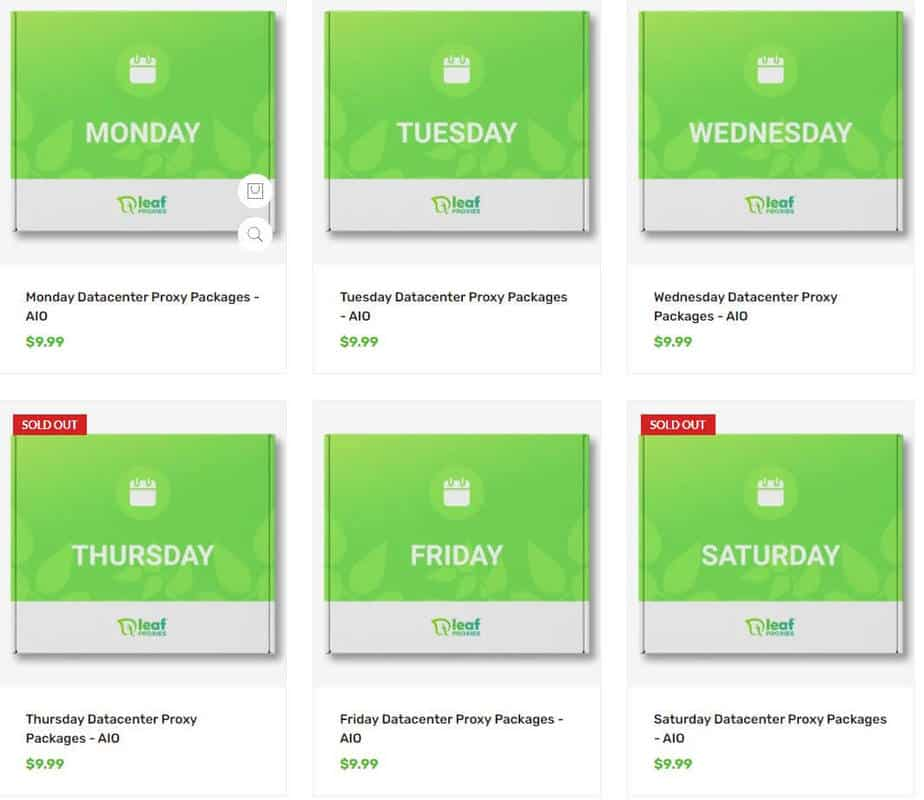 An image showing Leaf Proxies' daily datacenter pricing plans