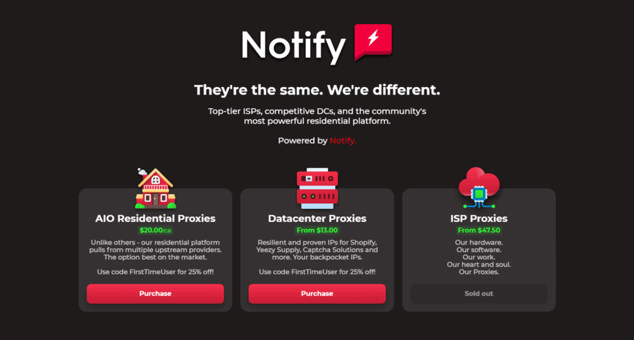 A screenshot depicting Notify Proxies homepage