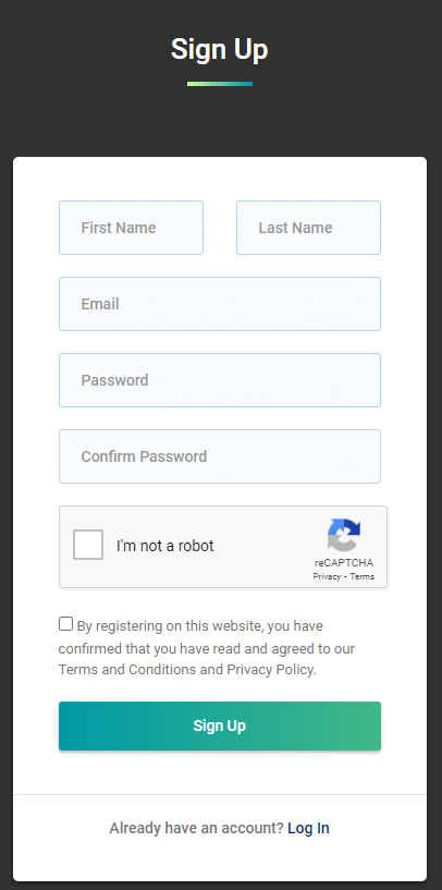 A screenshot showing Oculus Proxies's sign up form