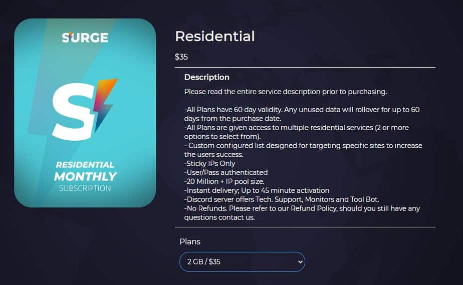 An image showing Surge Proxies residential pricing plans