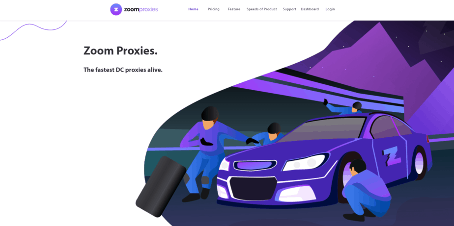 A screenshot showing Zoom Proxies homepage