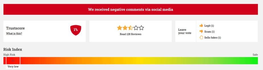 A picture showing AppSally's rating on the Scamadviser website.