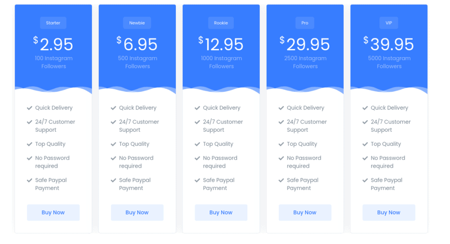 A picture of Instapromote's prices on Instagram followers.