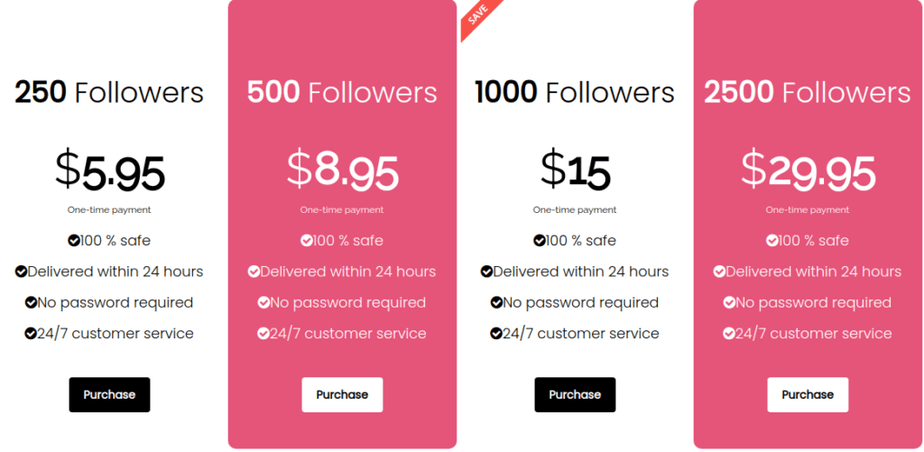 A picture of Muchfollowers prices on their website for lower follower packages.