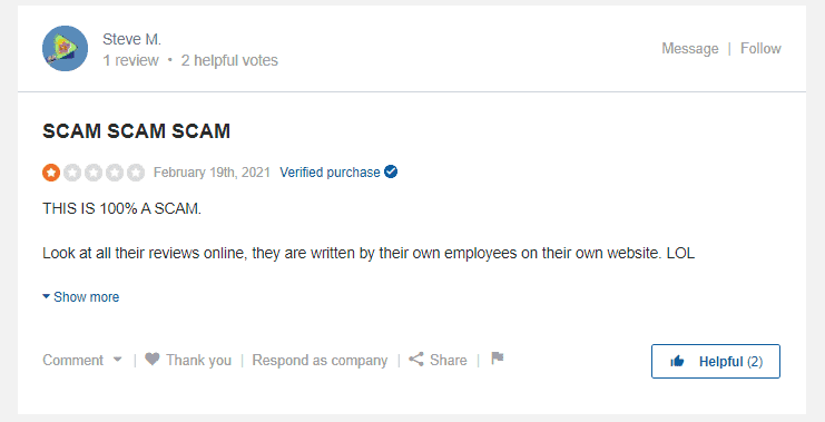 A screenshot showing the second review on Sitejabber.