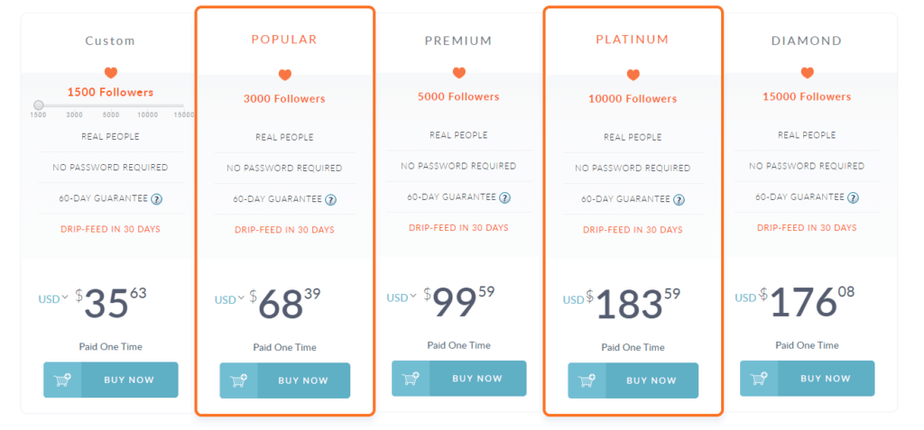 A screenshot depicting the pricing of followers bought over the SNS Growth website.