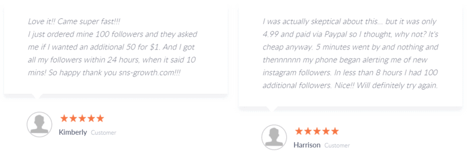 A screenshot depicting reviews on the SNS Growth website.