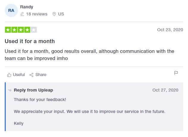 An image of Upleap's response on a customer review.